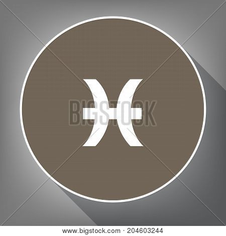 Pisces sign illustration. Vector. White icon on brown circle with white contour and long shadow at gray background. Like top view on postament.