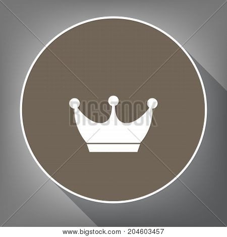 King crown sign. Vector. White icon on brown circle with white contour and long shadow at gray background. Like top view on postament.
