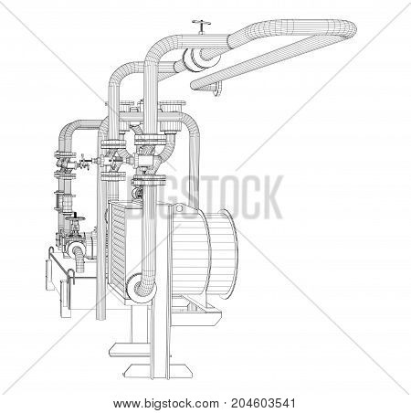 Wire-frame industrial equipment of oil pump. 3D Rendering Vector Illustration