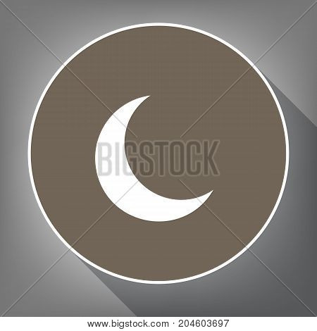Moon sign illustration. Vector. White icon on brown circle with white contour and long shadow at gray background. Like top view on postament.