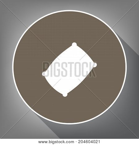 Pillow sign illustration. Vector. White icon on brown circle with white contour and long shadow at gray background. Like top view on postament.