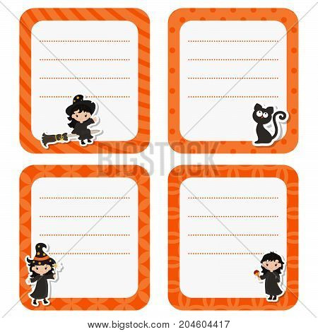 Cute cards with witch on white background