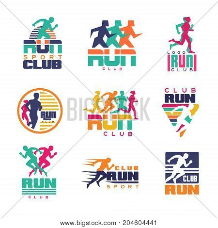 Run sport club logo templates set, emblems for sport organizations, tournaments and marathons colorful vector Illustrations on a white background