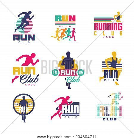 Running club logo templates set, emblems for sport organizations, tournaments and marathons colorful vector Illustrations on a white background
