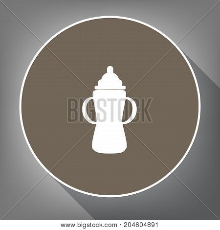 Baby bottle sign. Vector. White icon on brown circle with white contour and long shadow at gray background. Like top view on postament.