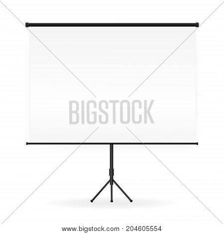 Meeting Projector Screen Vector. Empty White Board Presentation On Tripod  Conference Vector Illustration.