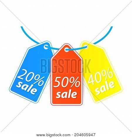 Price tag hang on the thread. Vector illustration .