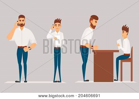 Vector cartoon Illustration of angry man scolds worker. Boss man character screams on worker.