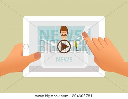 Tablet with online video of breaking news on screen in hands. Vector illustration of web online news and video live stream.