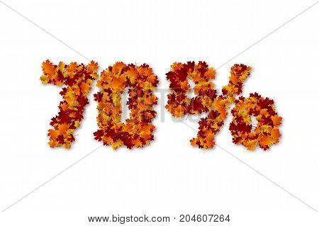 70 percent autumn leaves sale sign. Isolated on white background. Vector illustration.