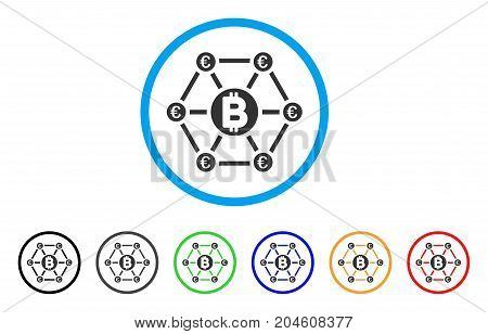 Bitcoin Euro Financial Network rounded icon. Style is a flat bitcoin euro financial network grey symbol inside light blue circle with black, gray, green, blue, red, orange variants.