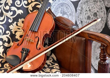 Violin on the sofa of the room