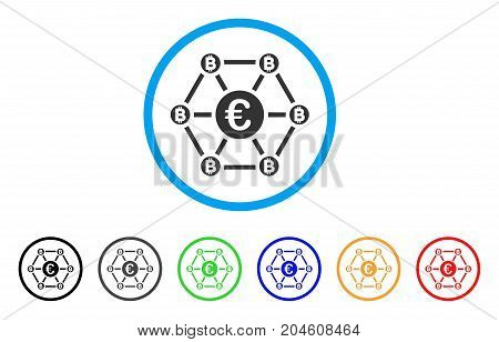 Bitcoin Euro Net Structure rounded icon. Style is a flat bitcoin euro net structure grey symbol inside light blue circle with black, gray, green, blue, red, orange color versions.