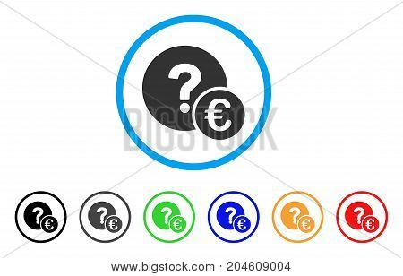 Euro Balance Query rounded icon. Style is a flat Euro balance query grey symbol inside light blue circle with black, gray, green, blue, red, orange versions.