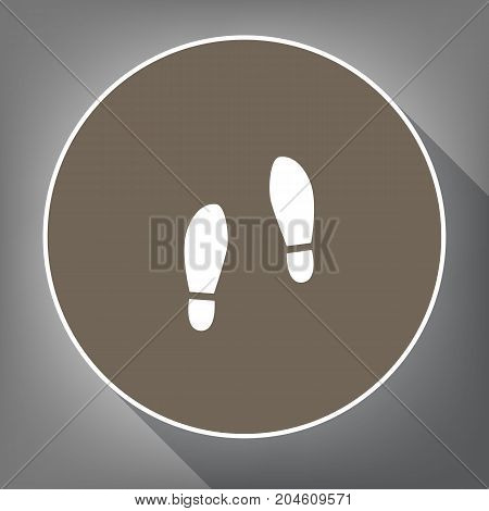Imprint soles shoes sign. Vector. White icon on brown circle with white contour and long shadow at gray background. Like top view on postament.