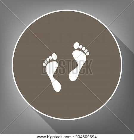 Foot prints sign. Vector. White icon on brown circle with white contour and long shadow at gray background. Like top view on postament.