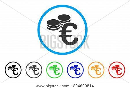 Euro Coins rounded icon. Style is a flat Euro coins gray symbol inside light blue circle with black, gray, green, blue, red, orange color versions. Vector designed for web and software interfaces.