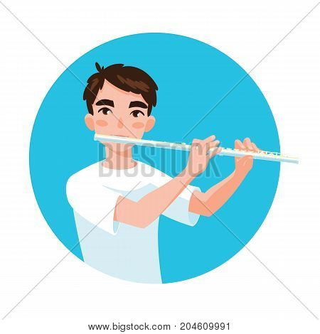 Musician playing flute. Boy flutist is inspired to play a classical musical instrument. Vector illustration in cartoon style in the blue circle on white background for your design and print.