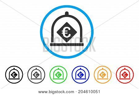 Euro Deposit rounded icon. Style is a flat Euro deposit gray symbol inside light blue circle with black, gray, green, blue, red, orange versions. Vector designed for web and software interfaces.