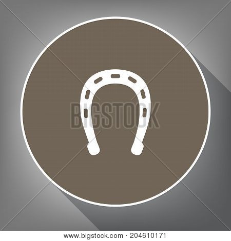 Horseshoe sign illustration. Vector. White icon on brown circle with white contour and long shadow at gray background. Like top view on postament.