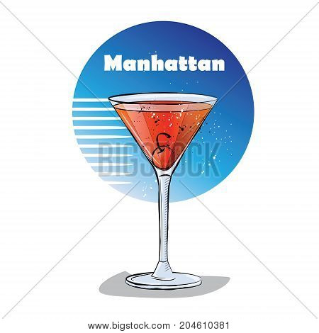 Hand drawn illustration of cocktail. Manhattan. Vector illustration