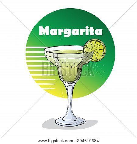 Hand drawn illustration of cocktail. Margarita. Vector illustration