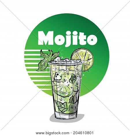 Hand drawn illustration of cocktail. MOJITO. Vector illustration