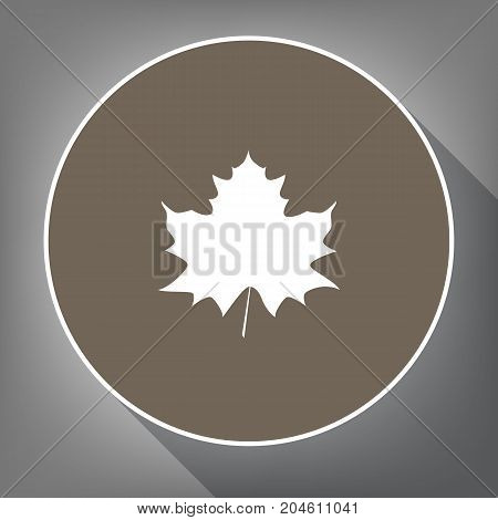 Maple leaf sign. Vector. White icon on brown circle with white contour and long shadow at gray background. Like top view on postament.