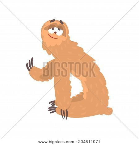 Cute cartoon smiling lazy sloth character, funny tropical animal vector Illustration on a white background
