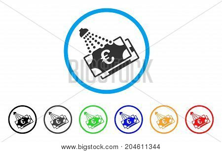Euro Money Laundry rounded icon. Style is a flat Euro money laundry grey symbol inside light blue circle with black, gray, green, blue, red, orange color versions.