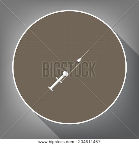 Syringe sign illustration. Vector. White icon on brown circle with white contour and long shadow at gray background. Like top view on postament.
