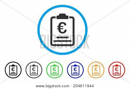 Euro Prices rounded icon. Style is a flat Euro prices grey symbol inside light blue circle with black, gray, green, blue, red, orange versions. Vector designed for web and software interfaces.