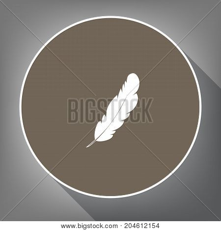 Feather sign illustration. Vector. White icon on brown circle with white contour and long shadow at gray background. Like top view on postament.