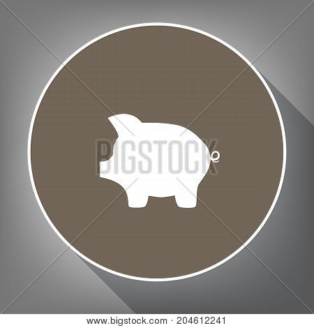 Pig money bank sign. Vector. White icon on brown circle with white contour and long shadow at gray background. Like top view on postament.