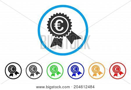 European Guarantee Seal rounded icon. Style is a flat European guarantee seal gray symbol inside light blue circle with black, gray, green, blue, red, orange variants.