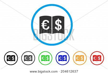 International Catalog rounded icon. Style is a flat International catalog gray symbol inside light blue circle with black, gray, green, blue, red, orange variants.