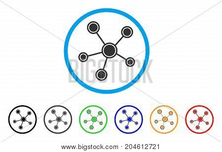 Network Links rounded icon. Style is a flat network links gray symbol inside light blue circle with black, gray, green, blue, red, orange versions. Vector designed for web and software interfaces.