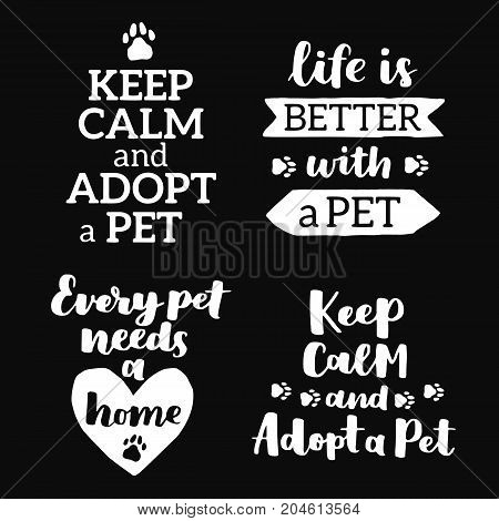 Vector lettering set with saying about pet adoption. Don't shop adopt. Modern calligraphy phrases on isolated background.