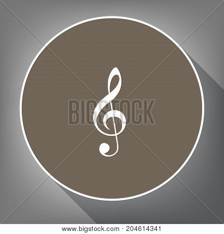 Music violin clef sign. G-clef. Treble clef. Vector. White icon on brown circle with white contour and long shadow at gray background. Like top view on postament.