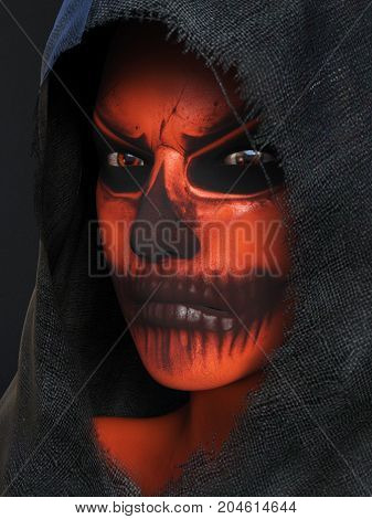 Dark portrait of an angry face painted with Halloween pumpkin makeup dressed in a black hood 3D rendering. Black background.