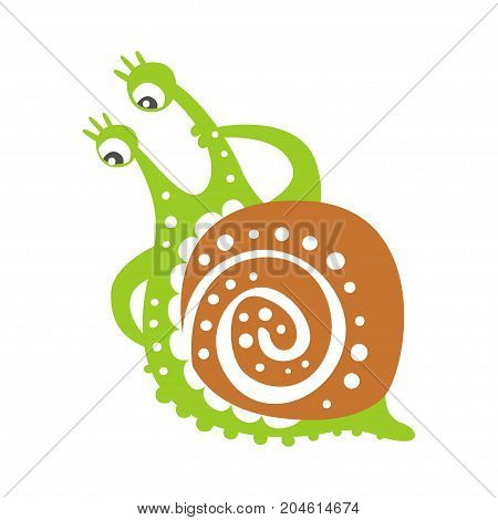 Cute thoughtful snail character, funny mollusk colorful hand drawn vector Illustration on a white background