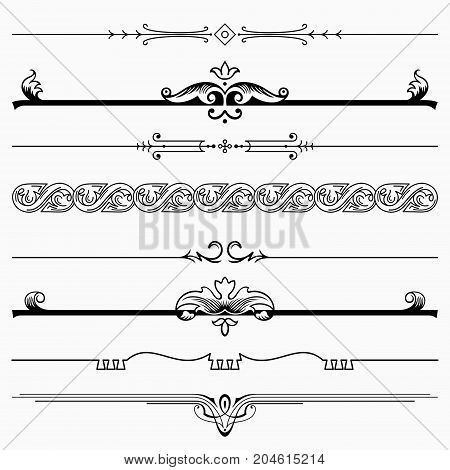 Set of eight decorative dividers, black on white