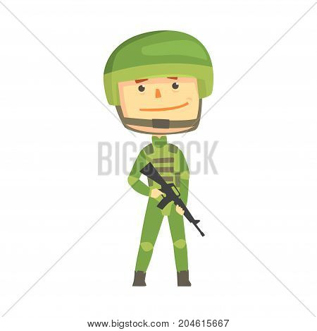 Soldier character in camouflage uniform with automatic assault rifle cartoon vector Illustration on a white background