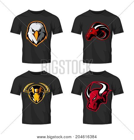 Furious hornet, bull, eagle and ram sport vector logo concept set isolated on white background.  Street wear mascot team badge design. Premium quality wild animal emblem t-shirt tee print illustration.