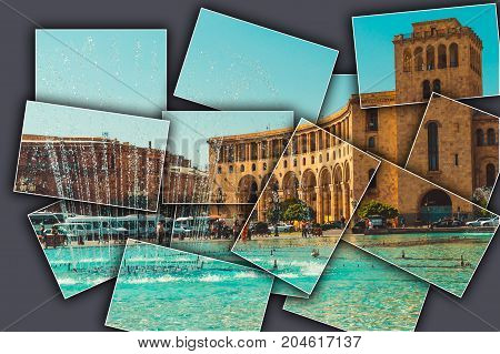 Collage grey background Dancing Fountains and architectural complex on Republic Square. Touristic architecture landmark. Sightseeing in Yerevan. City tour. Government House. Travel and tourism concept