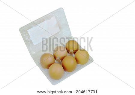 brown egg packing in plastic tray on white background