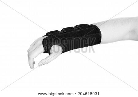 Patient Is Wearing A Black Wristband. In Silhouette Isolated On White Background