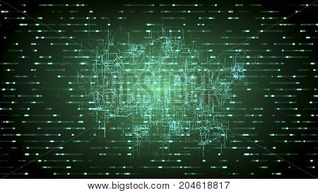 Digital connectivity artificial intelligence and data storage concept. Emerging connections conductors and neural signals on glowing dark green background