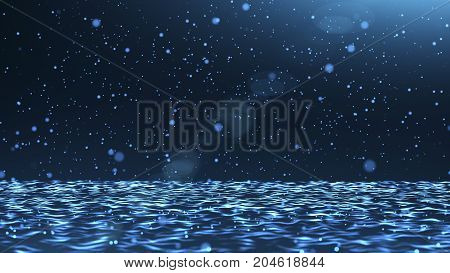 Abstract background with ray of light and particles falling and bouncing on water waves surface