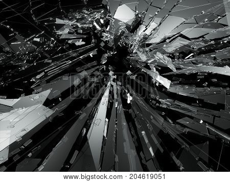 Bullet Hole Cracked And Shattered Glass